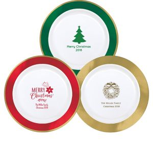 Personalized Christmas Premium Round Trimmed Dinner Plates