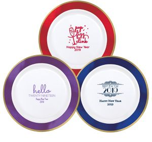 Personalized New Year's Premium Round Trimmed Dinner Plates