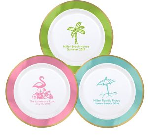 Personalized Summer Premium Round Trimmed Dinner Plates