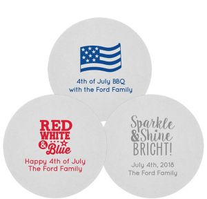Personalized 4th of July 80pt Round Coasters