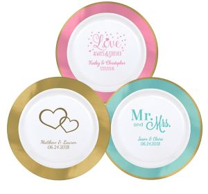 Personalized Wedding Premium Round Trimmed Dinner Plates