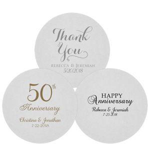 Personalized Wedding 80pt Round Coasters
