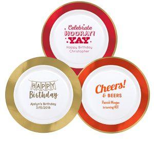 Personalized Birthday Premium Round Trimmed Dinner Plates