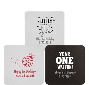 Personalized 1st Birthday 40pt Square Coasters