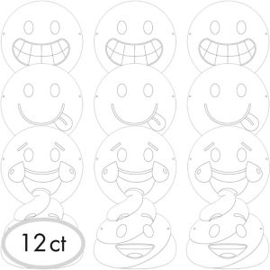 Smiley Paper Masks 12ct