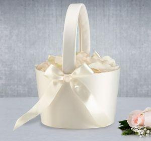 Cream Flower Girl Basket