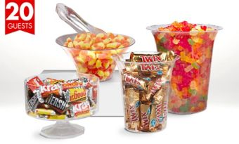 Branded Chocolate Candy & Gummy Candy Kit with Containers for 20 Guests