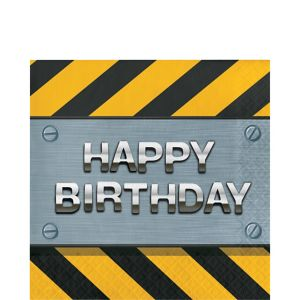Construction Zone Happy Birthday Lunch Napkins 16ct