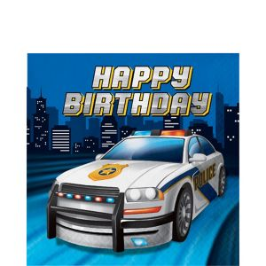 Police Birthday Lunch Napkins 16ct
