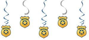 Police Swirl Decorations 5ct