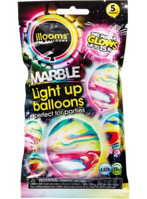 Illooms Light-Up Marble LED Balloons 5ct