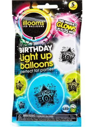 Illooms Light-Up Birthday Boy LED Balloons 5ct