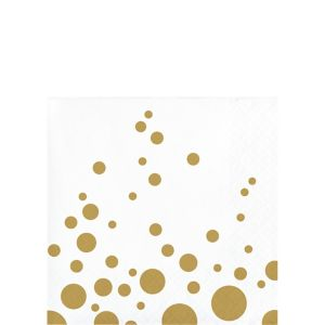 Metallic Gold Dots Beverage Napkins 16ct