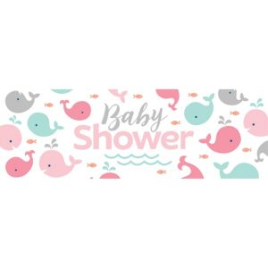 Giant Pink Baby Whale Baby Shower Banner