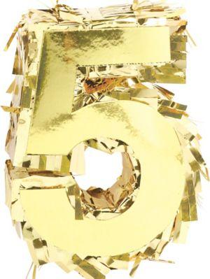 Metallic Gold Number 5 Pinata Decoration