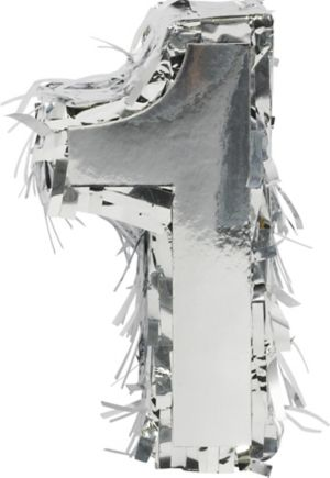Metallic Silver Number 1 Pinata Decoration