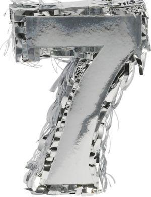 Metallic Silver Number 7 Pinata Decoration