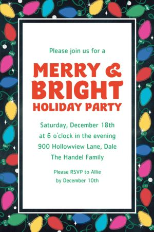 Custom Holiday Twinkle Lights Invitations