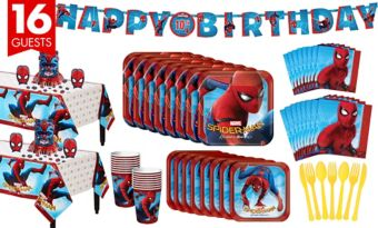 Spider-Man Homecoming Tableware Party Kit for 16 Guests