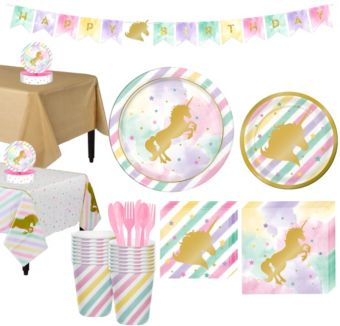 Sparkling Unicorn Tableware Party Kit for 16 Guests