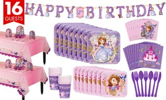 Sofia the First Tableware Party Kit for 16 Guests