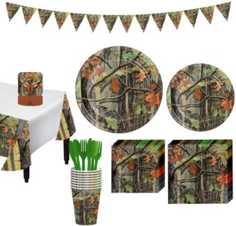 Hunting Camo Tableware Party Kit for 8 Guests