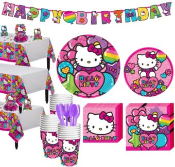 Rainbow Hello Kitty Tableware Party Kit for 24 Guests