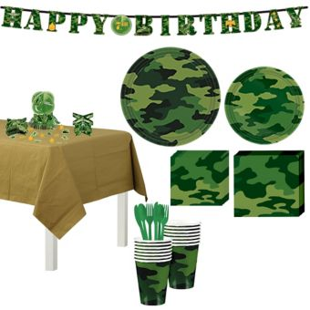 Camouflage Tableware Party Kit for 8 Guests