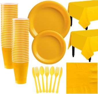 Sunshine Yellow Plastic Tableware Kit for 50 Guests
