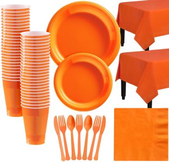 Orange Plastic Tableware Kit for 50 Guests