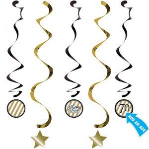 White & Gold Striped Happy Birthday Dizzy Danglers 5ct
