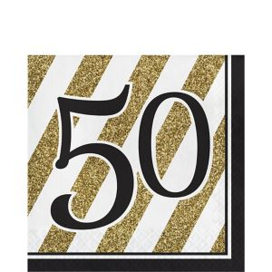 White & Gold Striped 50 Lunch Napkins 16ct