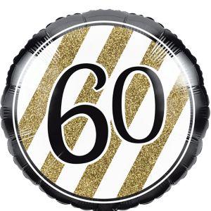 White & Gold Striped 60 Balloon