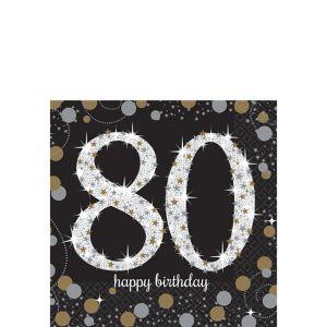 80th Birthday Beverage Napkins 16ct - Sparkling Celebration