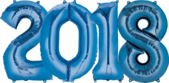 Giant Blue 2018 Number Balloon Kit