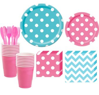 Caribbean Blue and Bright Pink Polka Dot & Chevron Paper Tableware Kit for 16 Guests