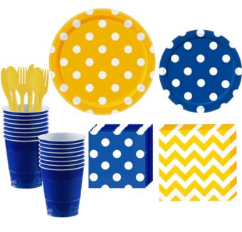 Royal Blue and Yellow Polka Dot & Chevron Paper Tableware Kit for 16 Guests