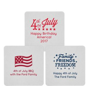 Personalized 4th of July 80pt Square Coasters