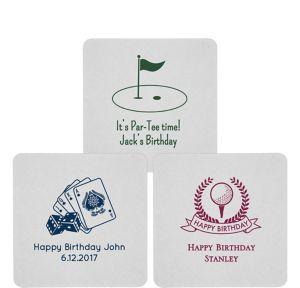 Personalized Milestone Birthday 80pt Square Coasters