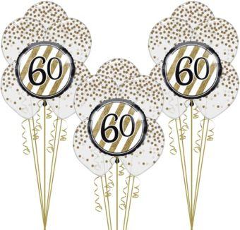White & Gold 60th Happy Birthday Balloon Kit