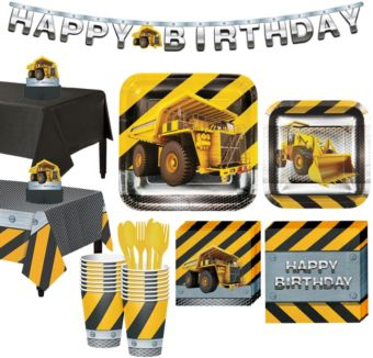 Construction Zone Tableware Party Kit for 16 Guests
