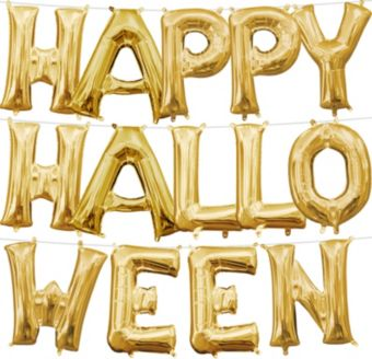 Air-Filled Gold Happy Halloween Letter Balloon Kit