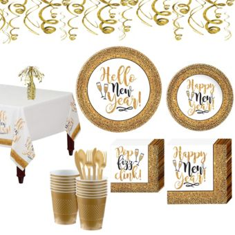 Gold Glitter New Year's Tableware Kit for 18 Guests