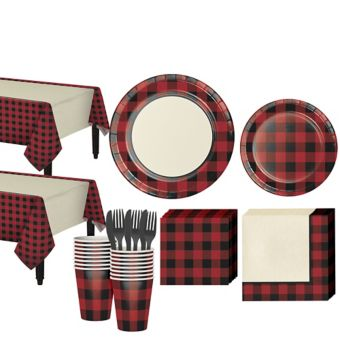 Buffalo Plaid Tableware Kit for 32 Guests