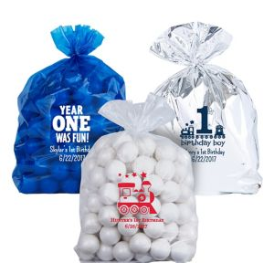 Personalized Medium 1st Birthday Plastic Treat Bags