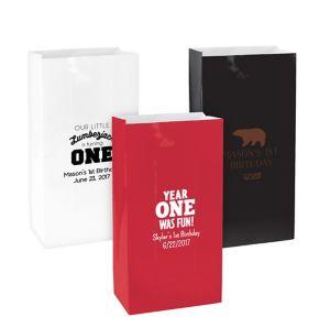 Personalized Medium 1st Birthday Paper Treat Bags