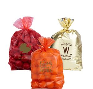 Personalized Small Thanksgiving Plastic Treat Bags