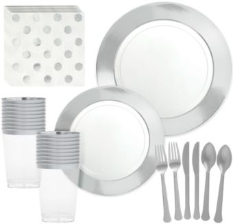 Premium CLEAR Silver Border Tableware Kit for 20 Guests