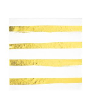 Metallic Gold Striped White Lunch Napkins 16ct