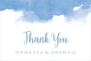 Custom Blue Watercolor Cloud Wedding Thank You Note